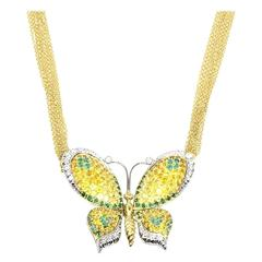 Chimento Emerald, Sapphire & Diamond Butterfly Necklace 18K Yellow Gold