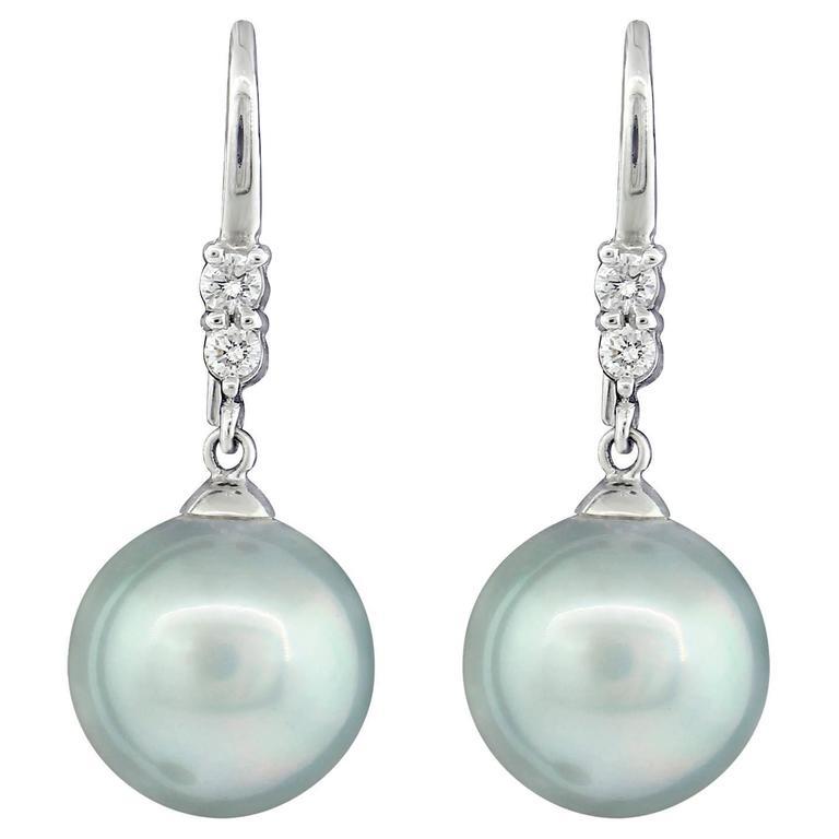 tahitian pearl earrings with diamonds platinum for sale