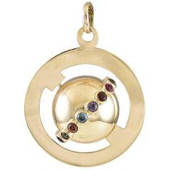 Great Around the World Gemset Gold Charm