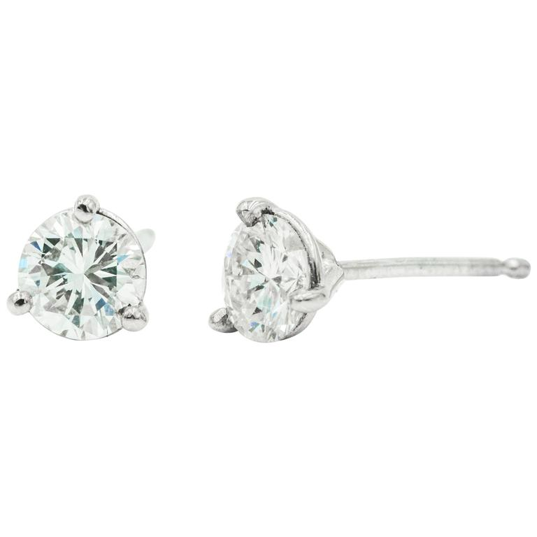 3f7472b3c Diamond Studs in 14 Karat White Gold Mounting, Martini-Style For Sale