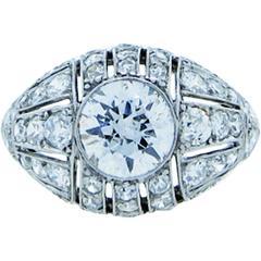 Exquisite Art Deco 1.3 carat Center Diamond Dome Ring