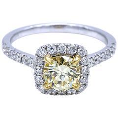 Fancy Light Yellow Halo Engagement Ring