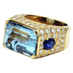 Aquamarine, Sapphires and Diamond Cocktail Ring