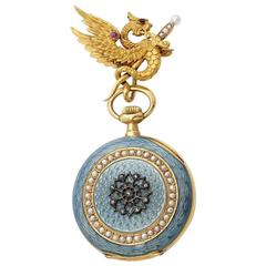 Antique French  Gold Enameled Griffon Pendant Pocket Watch