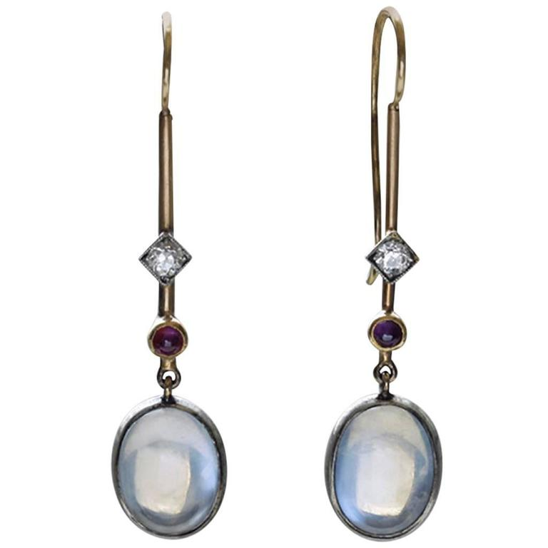 Edwardian 'Skate-Blade' Earrings with Moonstone, Diamond and Ruby 1