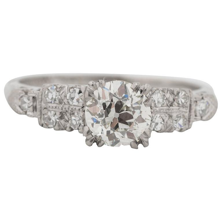 1930s GIA 1.01 Carat Old European Diamond Platinum Engagement Ring
