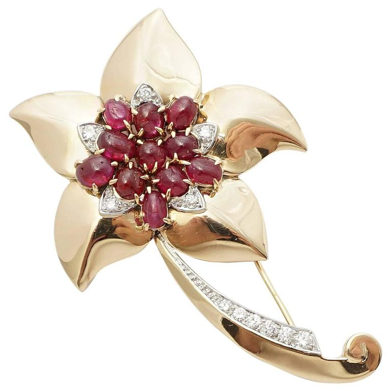 Marcus & Co Retro Ruby Diamond Flower Brooch 2