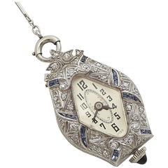 Platinum Art Deco Diamond, Sapphire Ladies Pendant Watch