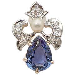 Edwardian Sapphire  Diamond Platinum Pendant