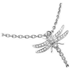 Tiffany & Co Dragonfly Diamond Platinum Pendant Necklace