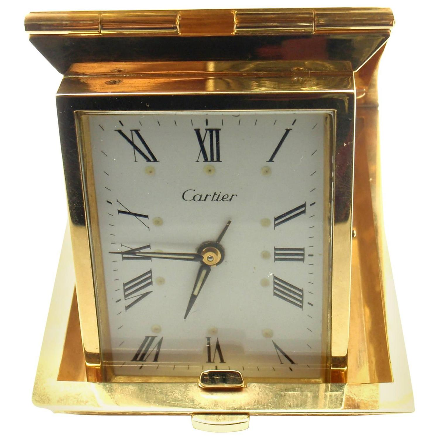 Cartier double c mechanical travel alarm yellow gold clock at 1stdibs amipublicfo Images