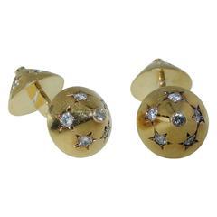 Cartier Diamond Gold Cufflinks