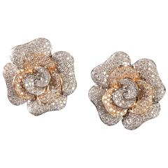 Pavé Set Diamonds Gold Camelia Earclips