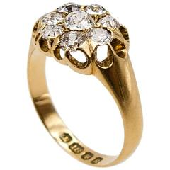 Victorian Antique Diamond Gold Cluster Ring