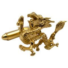 Delightful Roaring Dragon Gold Cufflinks