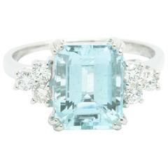 Ferrucci GIA Certified 2.82 Carat Aquamarine Diamonds 18 Karat Gold Ring