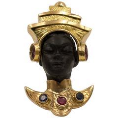 Serene Siamese Princess  Moor's Head Pin