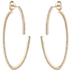Paige Novick Open Oval Two Part Full Diamond Pavé Gold Hoop Earrings