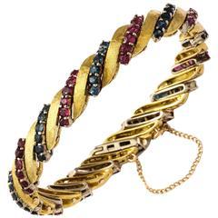 Barber Pole Ruby Sapphire Gold Bracelet
