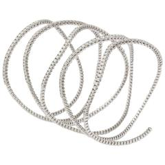 Diamond Yellow Gold Flexible Coil Bracelet