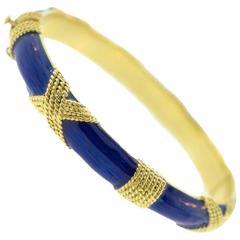 Vintage CARTIER Blue Enamel and Gold Bangle