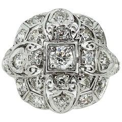 Art Deco Platinum Filigree and Diamond Cluster-Style Cocktail Ring