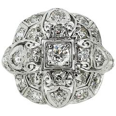 Art Deco Platinum Filigree and Diamond Cluster-Style Cocktail Ring