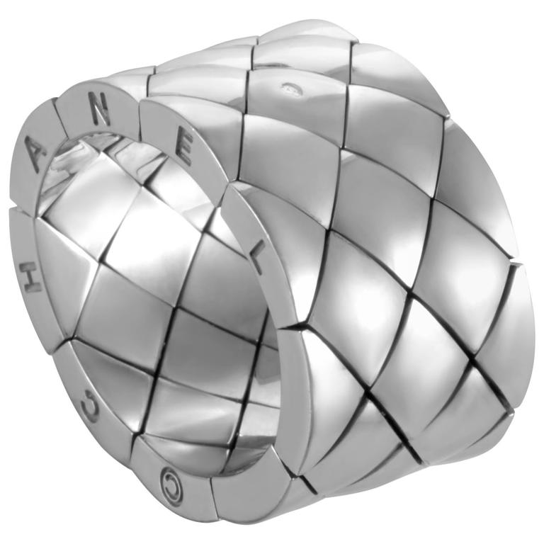 Chanel Matelasse White Gold Wide Band Ring For Sale