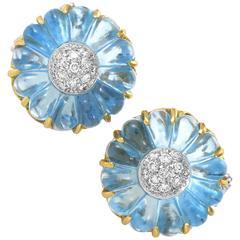 Ponte Vecchio Diamond Topaz Multi-Tone Gold Flower Earrings