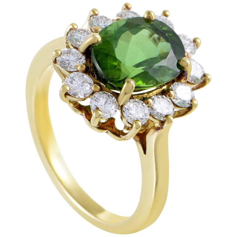 Tiffany & Co. Diamond Tourmaline Yellow Gold Ring For Sale