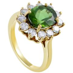 Tiffany & Co. Diamond Tourmaline Yellow Gold Ring
