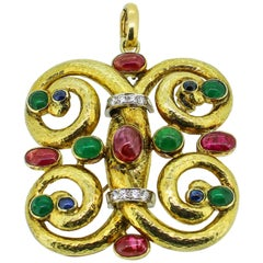 Modernist 14k Yellow Gold Emerald, Ruby, Sapphire and Diamond Pendant/Brooch