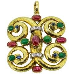 Modernist 14k Yellow Gold Emerald, Ruby, Sapphire and Diamond Pendant/Brooch