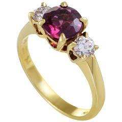 Tiffany & Co. Diamond Pink Tourmaline Yellow Gold Ring