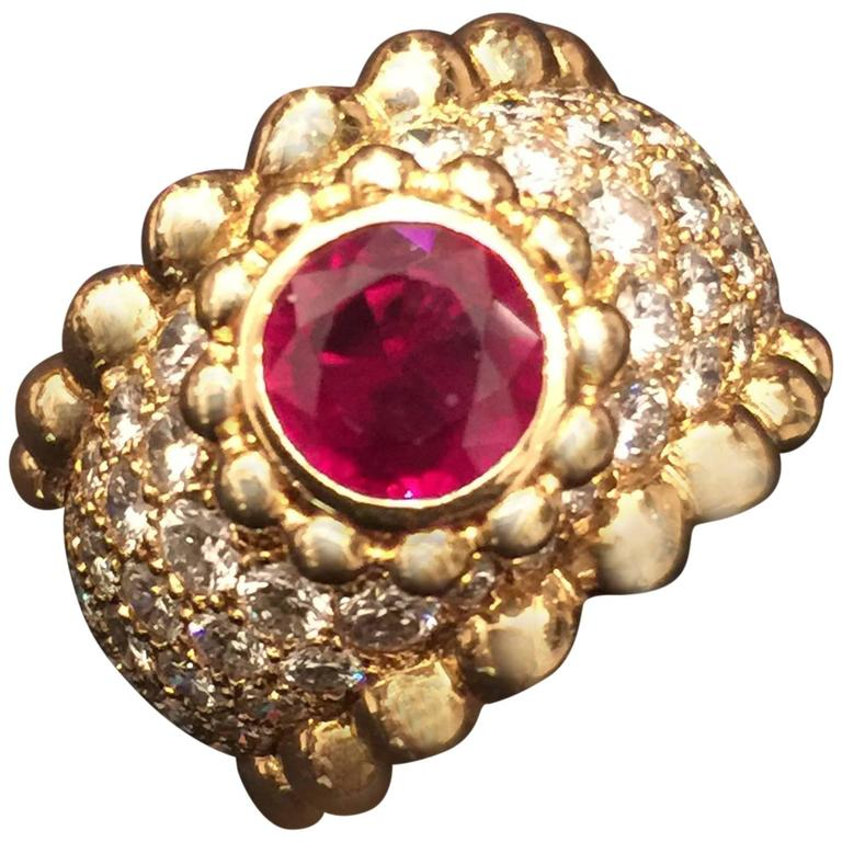 Chanel Ruby Diamond Gold Ring  1