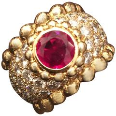 Chanel Ruby Diamond Gold Ring