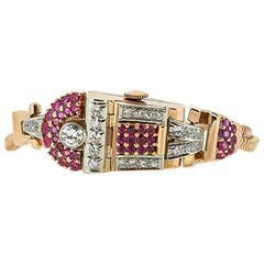 1940s Retro 14K Rose Gold Ruby and Diamond Flip Top Wrist Watch