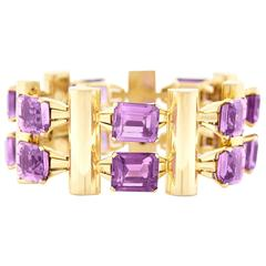 Spectacular Mid-Century Amethyst and Gold Bracelet