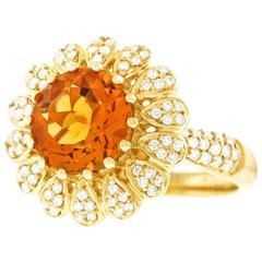 Charming Citrine, Diamond, and Gold Ring