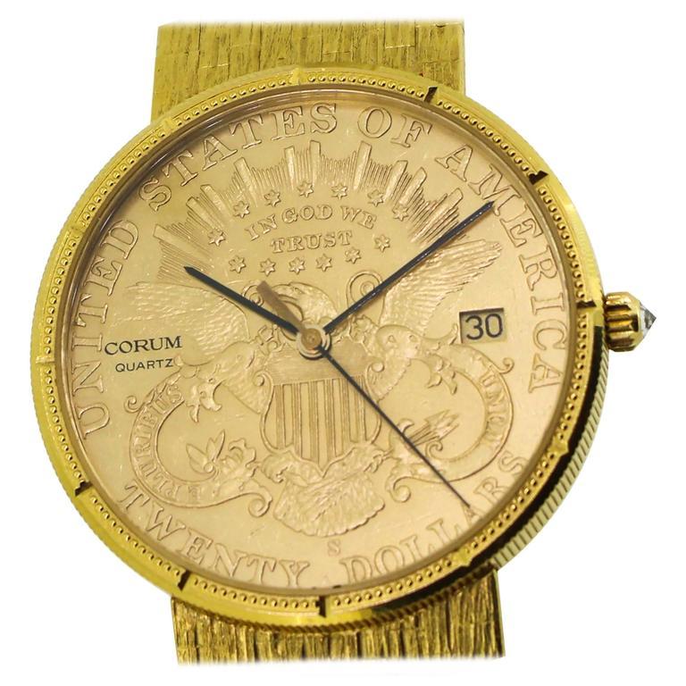 151fc745640d9 Corum  20 Gold US Liberty Coin 18K Yellow Gold Men s Quartz Watch For Sale