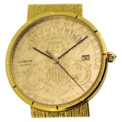 Corum $20 Gold US Liberty Coin 18K Yellow Gold Men's Quartz Watch