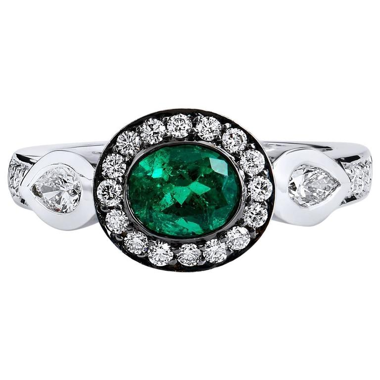 H&H Oval Emerald Diamond Gold Ring