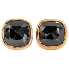 H&H 5.04 Carats Black Diamonds Gold Earrings