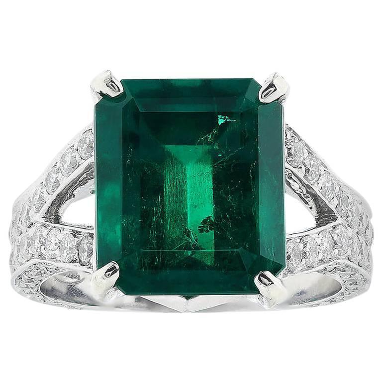 6.25 Carat Colombian Emerald Diamond Platinum Ring