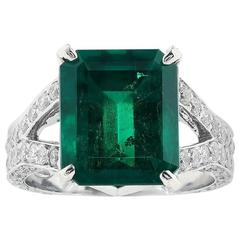 6.25 Carat Colombian Emerald Diamond Platinum Ring
