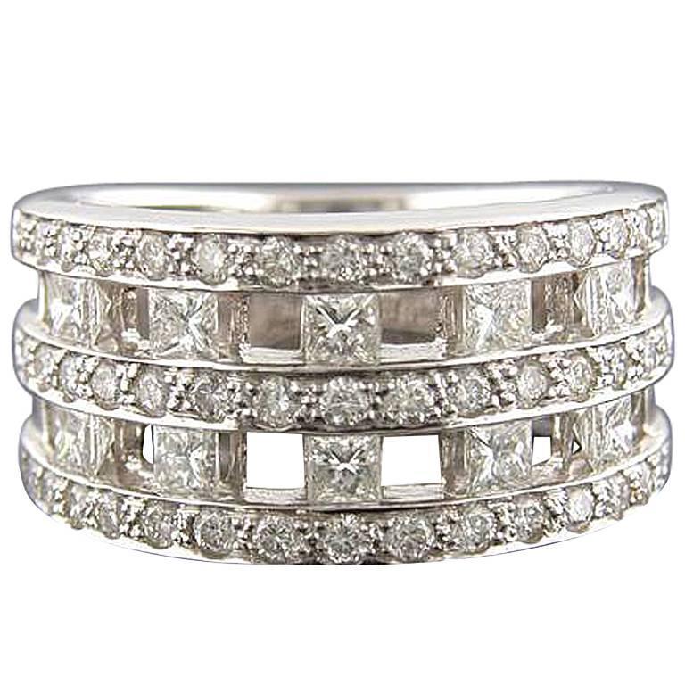 1.63 Carat Open Pattern Diamond Platinum Band Ring