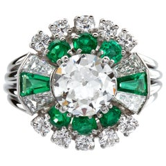 Raymond C. Yard Art Deco 1.50 Carat Center Old European Diamond Emerald Ring