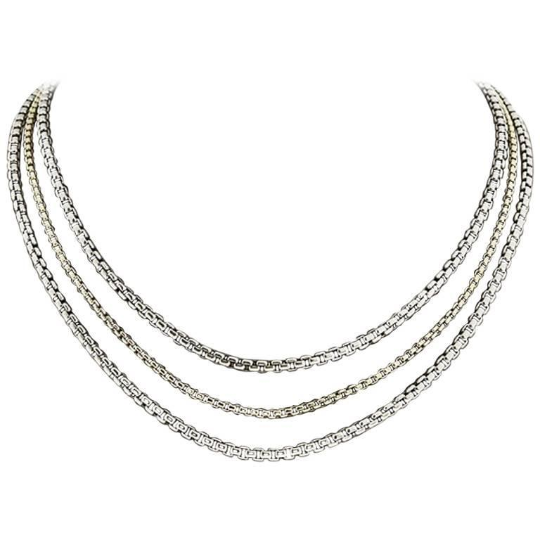 David Yurman Sterling Silver & 18 Karat Yellow Gold 3 Strand Box Chain Necklace 1