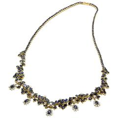 Blue Sapphire Diamond Two Color Gold Cluster Necklace