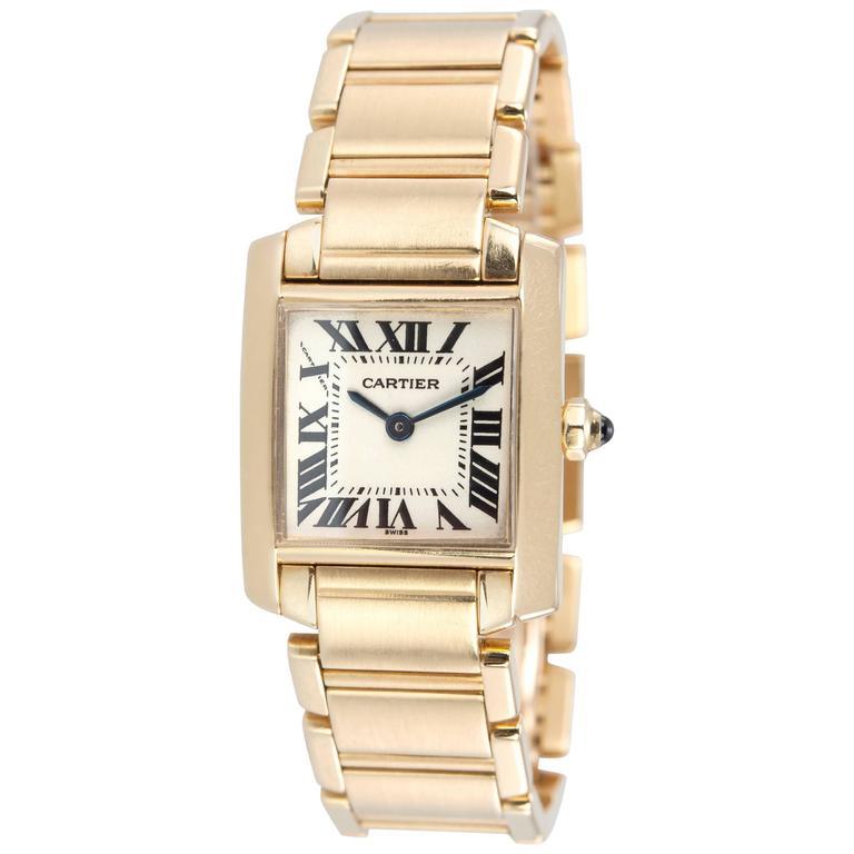 Cartier Ladies Yellow Gold Tank Française Quartz Wristwatch